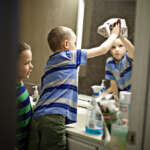 cleaning the kids bathroom